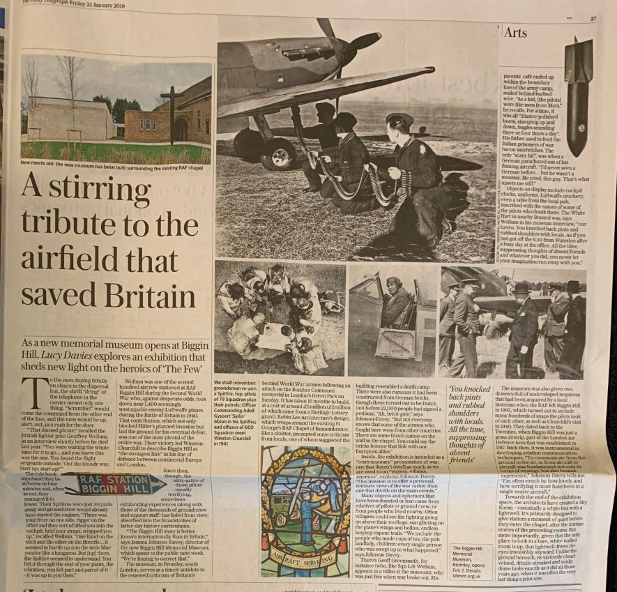 Newspaper clipping 'A stirring tribute to the airfield that saved Britain', The Daily Telegraph, 25th January 2019